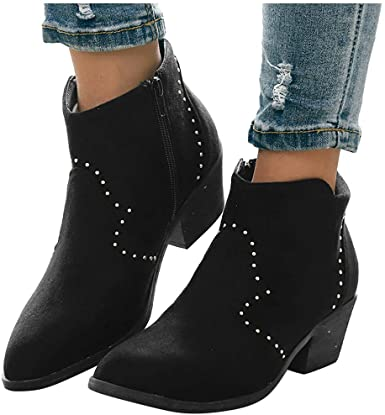 Amazon.com: Mid Heel Suede Ankle Boots for Women - Womens Chunky .