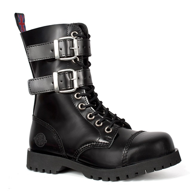 Black Leather 2-Buckle 10-Eye Combat Boots by Nevermind .