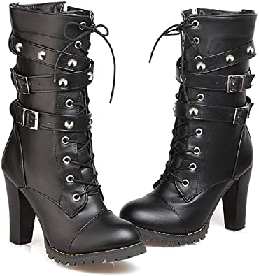 Amazon.com | Susanny Women's Mid Calf Leather Boots High Heel Lace .