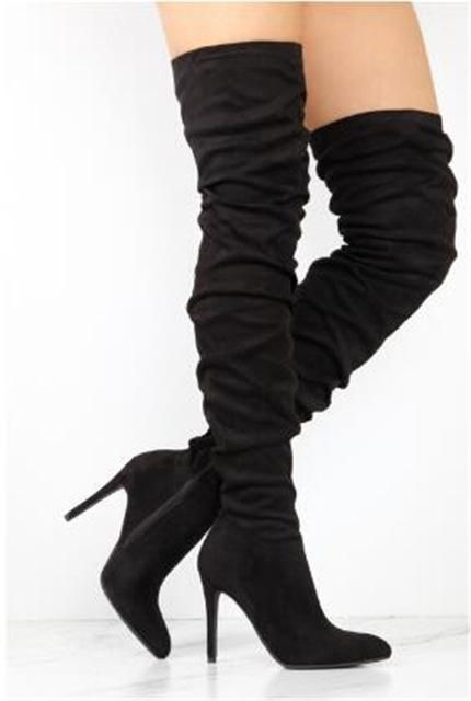 Sestito Woman Fashion Pleated Pointed Toe Over-the-knee Boots .