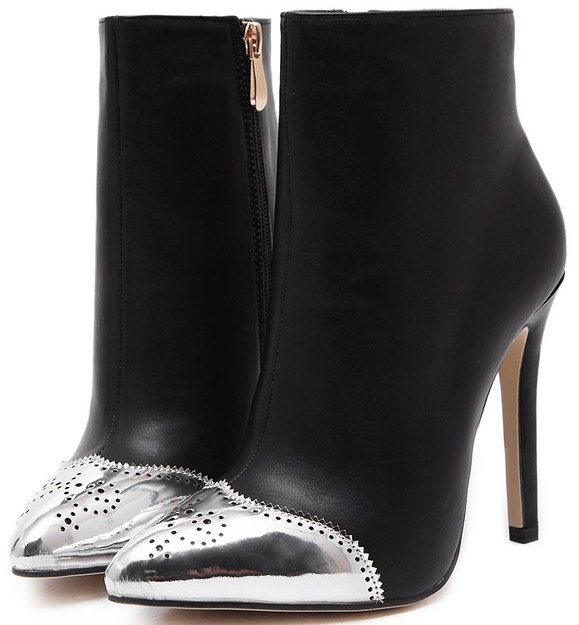 Silver Tip Black Suede Stiletto High Heels Point Head Ankle Boots .