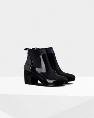 Women's Refined Slim Fit Gloss Mid Heel Boots: Black | Official .