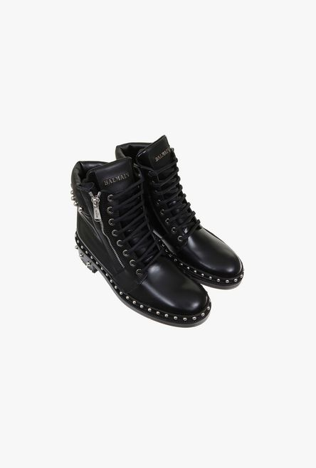 Leather Ranger Ankle Boots With Rivets for Women - Balmain.c