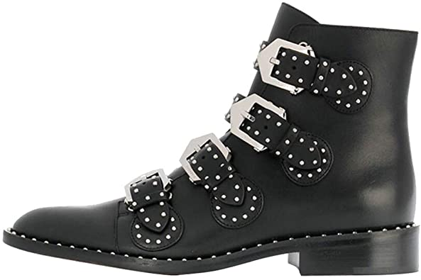 Amazon.com | The Most Women's Leather Boot Rivet Low Heels Ankle .