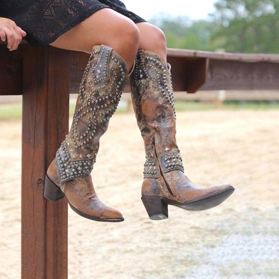 Women's Rivets Pointed Toe Western Cowboy High Boots .