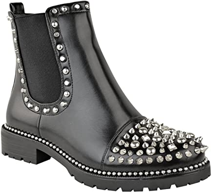 Amazon.com | Fashion Thirsty Womens Spike Stud Chunky Ankle Boots .