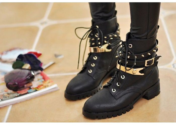 はじめまして | Studded combat boots, Boots women fashion, Boo