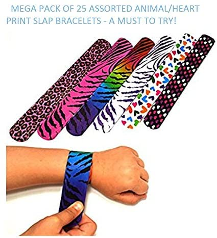 Amazon.com: 25 Mega Pack Slap Bracelets | Slap Bands Birthday .