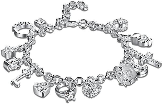 Amazon.com: Daycindy Love Charms Bracelets for Women, Silver .