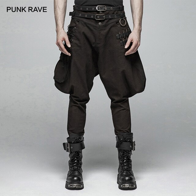 PUNK RAVE Men's Steampunk Bullet Breeches Fashion with Belt Big .