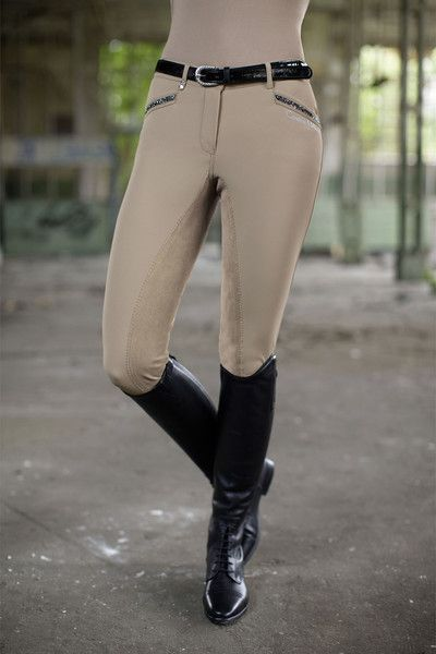 Cavallino Marino Silver Stream Full Seat Breeches with Crystals .