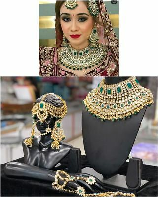 Gold Plated Kundan Bridal Jewelry Necklace Set Green Bollywood .