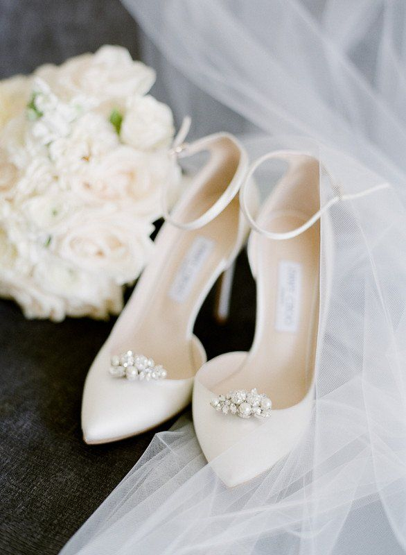 Classic wedding shoes - white heels for bride {STELLA YANG .