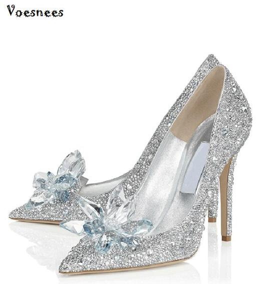 Cinderella Glass Pointed High Heels Crystal Silver Bottom Women .