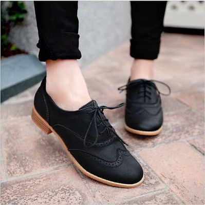 Brogue Women Lace Up Wing Tip Oxford College Style Flat Fashion .