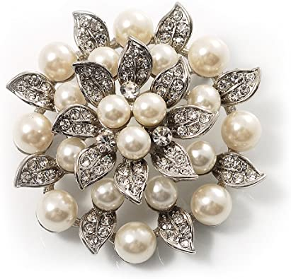 Amazon.com: Avalaya Bridal Synthetic Pearl Floral Brooch (Light .