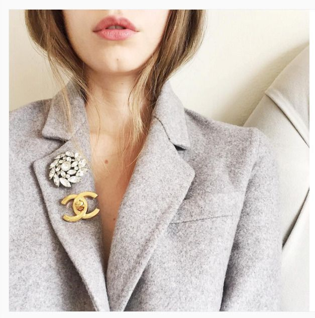 How to wear a multiple brooches on your winter jacket/coat .