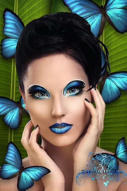 Haya Qureshi- fantasy-makeup-14-blue-butterfly | Butterfly makeup .