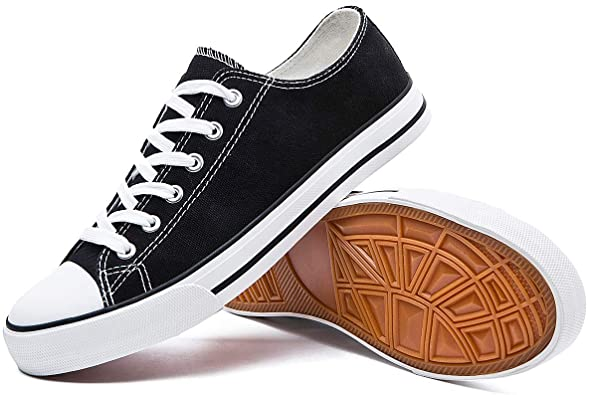 Amazon.com | Womens Canvas Sneakers Low Top Lace Up Canvas Shoes .