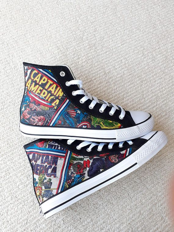Canvas Shoes Hand Customised with Marvel Captain America Comic .