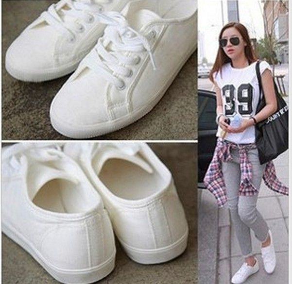 Sport shoes hot-selling lacing white canvas casual cotton-made .