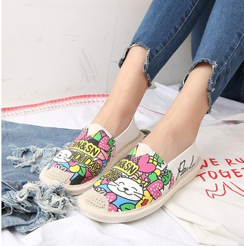 Customized New Style Canvas Shoes Printing Women Canvas Slip On .