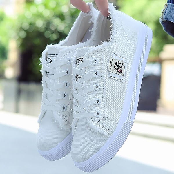 Women Canvas Shoes Breathable Running Lace-up Denim Flats Shoes .