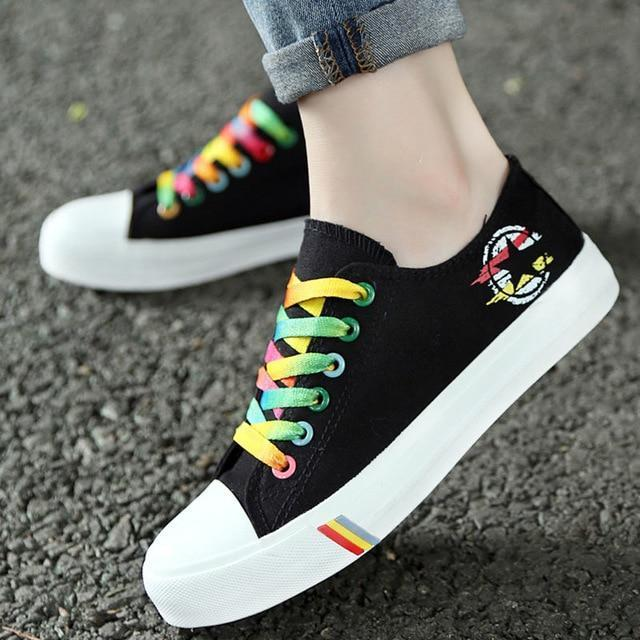 Women Casual Shoes Spring And Summer Ladies Lace Up Canvas Shoes .
