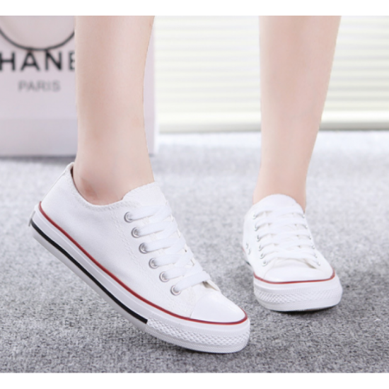 Buy Women White With Red Lines Comfty Canvas Shoes For Women .