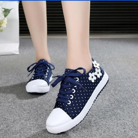 Blue White Dots Flat Casual Shoes From Touchy Style Outfit .
