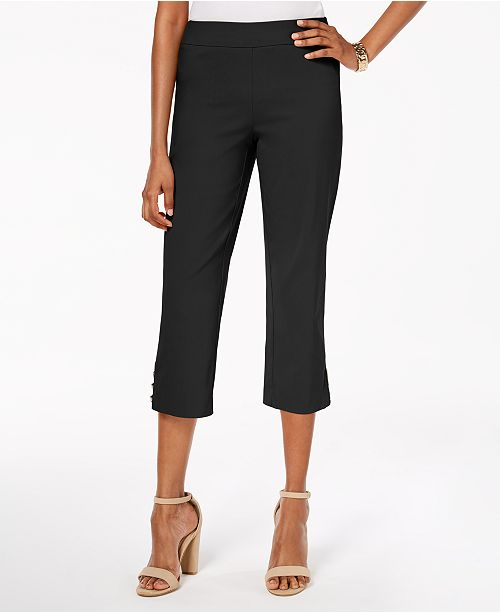 JM Collection Pull-On Lattice-Inset Capri Pants, Created for .