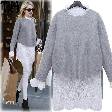 Elegant lace gray loose dress Christmas party long sleeve winter .