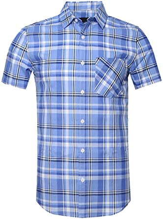 Amazon.com: SOOPO Mens Casual Regular Fit Short Sleeve Button Down .