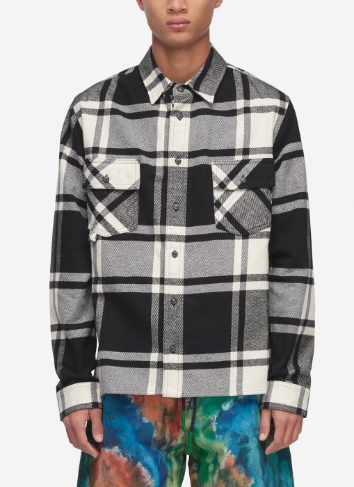 Off-White Checked Shirt In White / Black | Check shirt, Long .