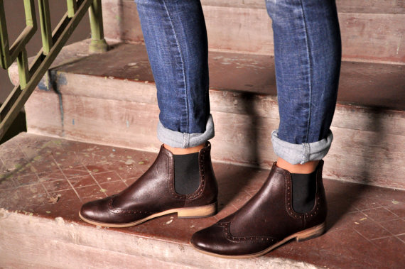 Chelsea - Womens Ankle Boots, Leather Boots, Chelsea Boots, Brown .