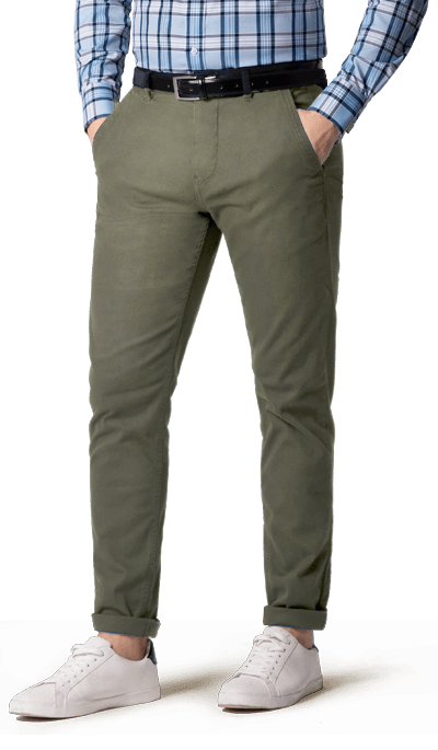Slim Fit Grey Cotton flat-front Chinos 69€ | Hocker