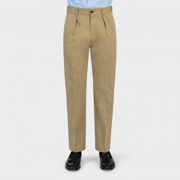 Drake's : Cotton-Linen Single Pleat Games Chinos : Sa