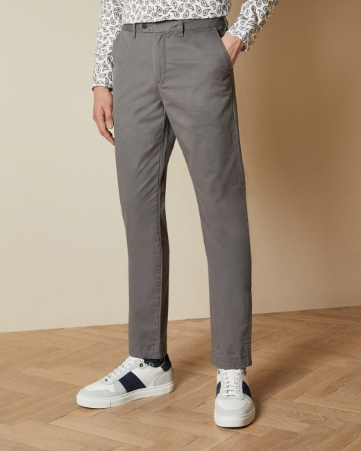 Slim fit chinos - Gray | Pants | Ted Bak