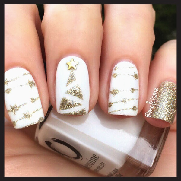 christmas-nail-art-design-ideas-gold-and-white-nails-min | Ecemel