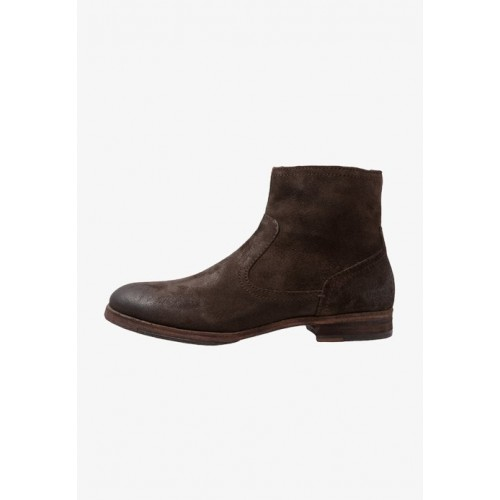 Women Classic ankle boots brown Round Zip Plain OGUAN