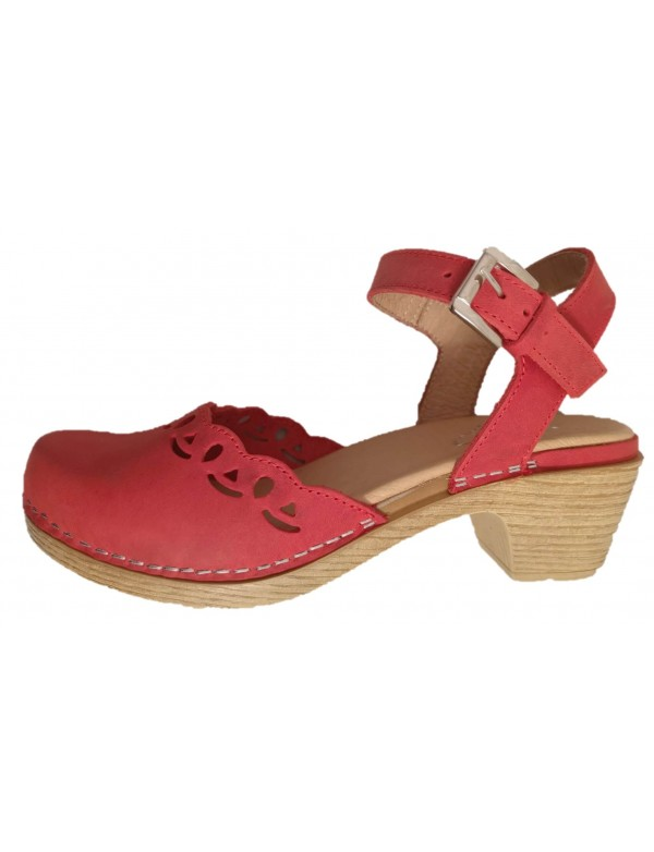 Clogs for Ladies | Italian Fashion Shoes | Red Leath