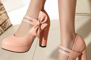 Pumps Women College Style Bow Beaded Solid Round Toe Thick Heels .