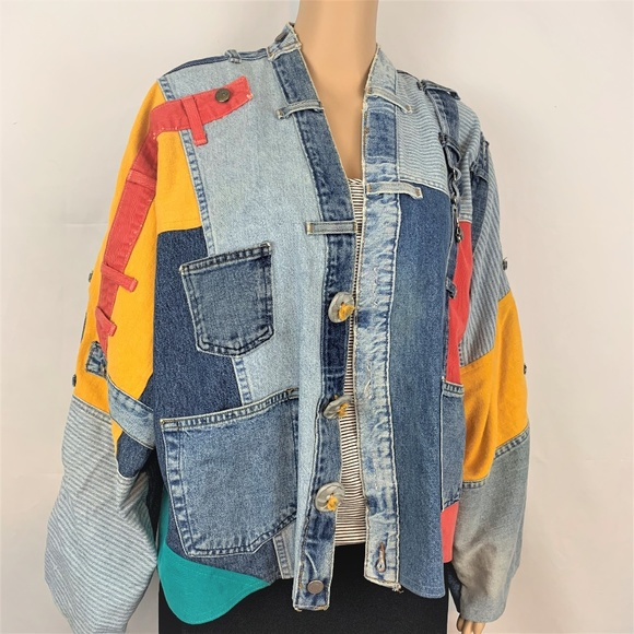 Sarah Martin Jackets & Coats | Vintage 90s Patchwork Colorful Jean .