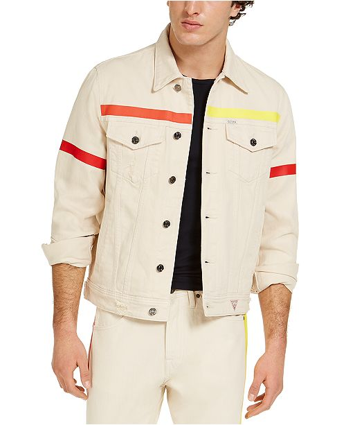 GUESS Men's Denim Jacket With Colored Taping & Reviews .