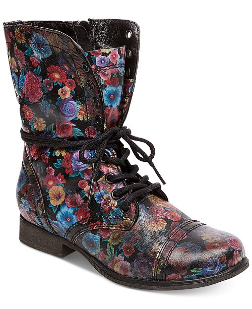 Steve Madden Women's Troopa Floral Combat Boots & Reviews - Boots .