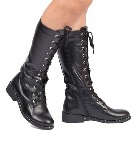 Qupid Black Plateau Combat Boot - Women | Best Price and Reviews .