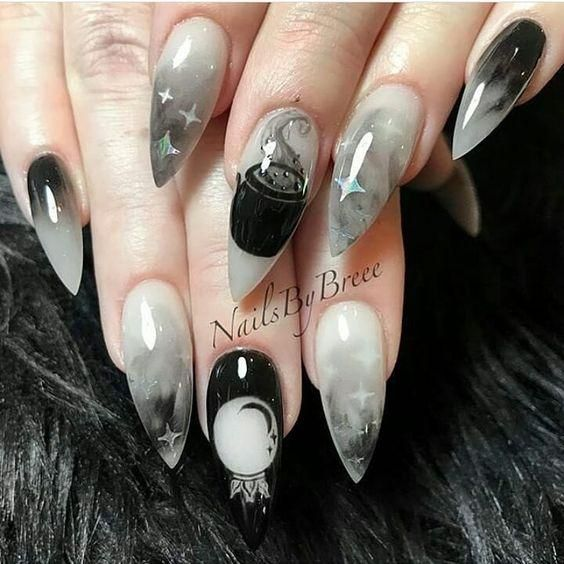 60+ Halloween Nail Art Ideas | Goth nails, Witchy nails, Cute .