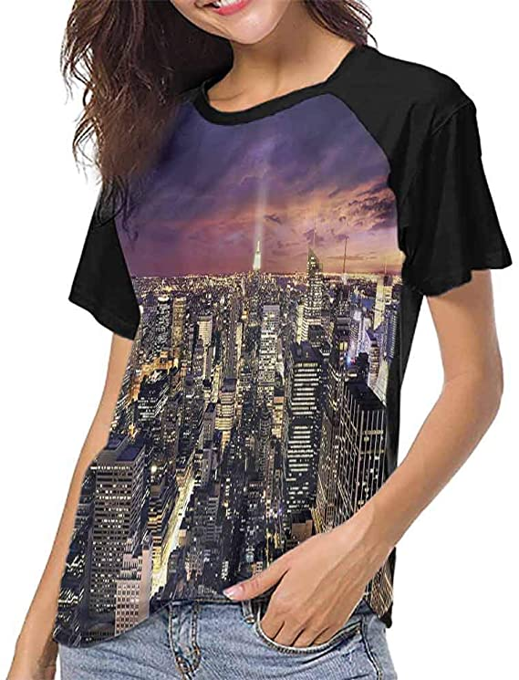 Mangooly Women T Shirt,NYC,Offices in New York Skyscrapers S-XXL .