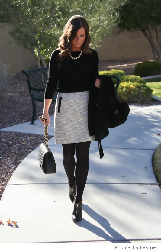 Cool office look for winter | Fashionable work outfit .