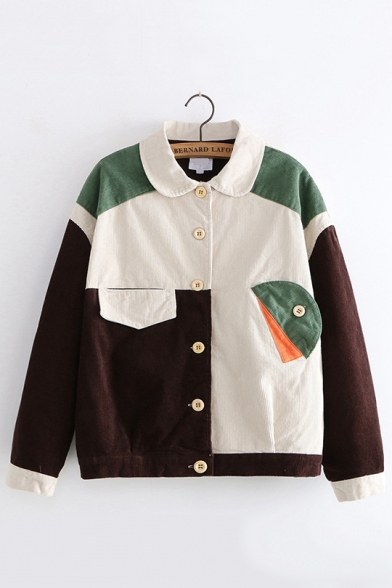 Students Vintage Color Block Lapel Collar Button Front Casual .